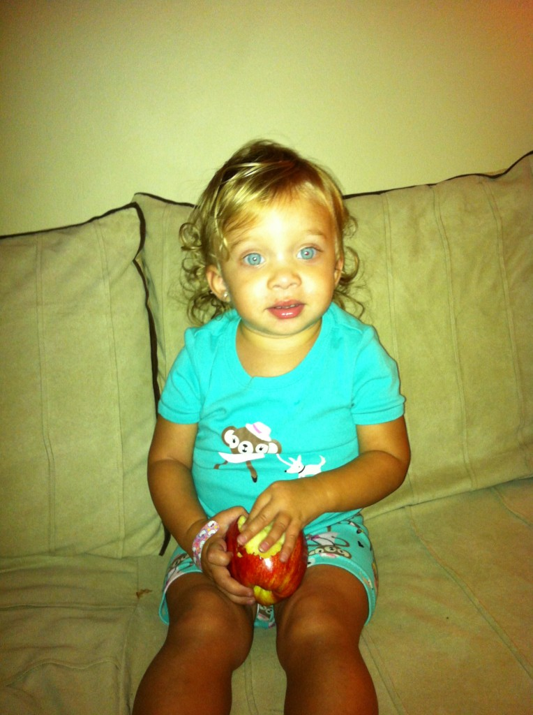 she found an apple in the fridge then climbed in my bed all on her own.